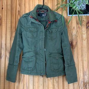 Fox military style jacket coat olive green plaid